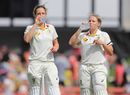 Ellyse Perry and Alyssa Healy take a break during their 102-run partnership, Australia v England, Women's Ashes 2017-18, Only Test, 3rd day, Sydney, November 11, 2017