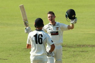 Cameron Bancroft celebrates his 11th first-class century