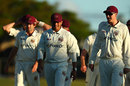 Matt Renshaw and Usman Khawaja leave the field at the close of play, Queensland v New South Wales, Sheffield Shield 2017-18, 1st day, Brisbane, November 13, 2017
