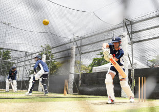 Alastair Cook lines one up in the nets