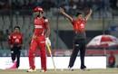 Mohammad Saifuddin celebrates a wicket, Chittagong Vikings v Comilla Victorians, BPL 2017-18, Dhaka, November 14, 2017