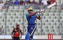 Kieron Pollard miscues a pull shot, Dhaka Dynamites v Khulna Titans, Bangaldesh Premier League, Dhaka, 14 November, 2017