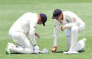 Joe Root checks in on Jonny Bairstow, after the latter was hit on the hand, Cricket Australia XI v England, The Ashes 2017-18, tour match, 1st day, Townsville, November 15, 2017