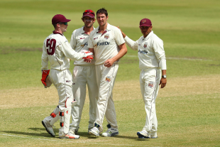 Luke Feldman celebrates the wicket of David Warner