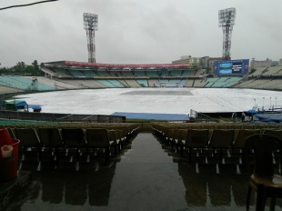 The Eden Gardens was wrapped under covers on the eve of the Test