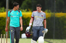 Mitchell Starc and Matt Renshaw share a light moment during training, The Ashes 2017-18, Brisbane, November 15, 2017
