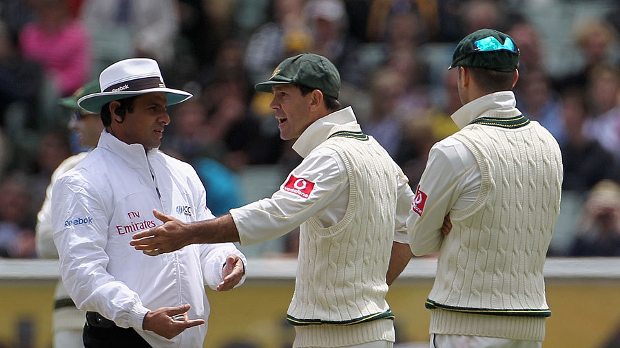 Brain explosion: Ponting has an eight-minute chat with Aleem Dar over an appeal for Kevin Pietersen's wicket in the MCG Test