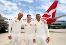 Nathan Lyon, Steven Smith and Usman Khawaja pose on a tarmac at Brisbane airport, Brisbane, November 17, 2017