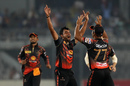 Abu Jayed is thrilled after dismissing Luke Ronchi, Khulna Titans v Chittagong Vikings, BPL 2017, Dhaka, November 17, 2017