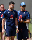 James Anderson has a chat with bowling consultant Shane Bond, Cricket Australia XI v England XI, Tour match, Townsville, 4th day, November 18, 2017