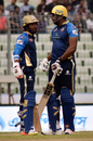 Kumar Sangakkara and Kieron pollard have a chat in between overs, Dhaka Dynamites v Rajshahi Kings, Bangladesh Premier League 2017-18, Dhaka, November 18, 2017