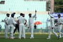 Virat Kohli celebrates the wicket of Niroshan Dickwella, India v Sri Lanka, 1st Test, 4th Day, Kolkata, 19 November, 2017