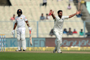 Bhuvneshwar Kumar appeals for the wicket of Dasun Shanaka, India v Sri Lanka, 1st Test, 4th Day, Kolkata, 19 November, 2017