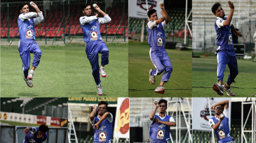 Ambidextrous bowler Yasir Jan bowling for Lahore Qalandars in a practice session
