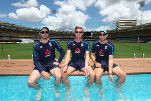 Ashes splashes: James Vince, Jake Ball and Dawid Malan check out the Gabba pool