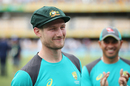 Cameron Bancroft sports a smile after being handed the baggy green by Geoff Marsh on his Test debut, Australia v England, 1st Test, The Ashes 2017-18, 1st day, Brisbane, November 23, 2017