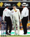 The umpires explain their bad-light call to Steven Smith, Australia v England, 1st Test, The Ashes 2017-18, 1st day, Brisbane, November 23, 2017