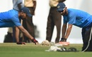 Cheteshwar Pujara and Ajinkya Rahane get a feel for the green pitch, India v Sri Lanka, 2nd Test, Nagpur, November 23, 2017