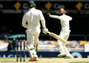 Moeen Ali rejoices after taking the wicket of Usman Khawaja, Australia v England, The Ashes 2017-18, 1st Test, Brisbane, 2nd day, November 24, 2017