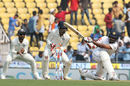 Lahiru Thirimanne is bowled attempting a slog sweep off R Ashwin, India v Sri Lanka, 2nd Test, Nagpur, 1st day, November 24, 2017