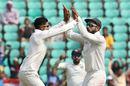 Ravindra Jadeja and Virat Kohli celebrate Angelo Mathews' wicket, India v Sri Lanka, 2nd Test, Nagpur, 1st day, November 24, 2017