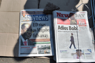 The news of Robert Mugabe's resignation as Zimbabwe president in the country's papers