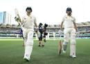 Shaun Marsh and Steven Smith walk off at the end of the second day, Australia v England, The Ashes 2017-18, 1st Test, Brisbane, 2nd day, November 24, 2017