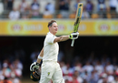 Steven Smith rejoices after bringing up the first century this Ashes, Australia v England, The Ashes 2017-18, 1st Test, Brisbane, 3rd day, November 25, 2017