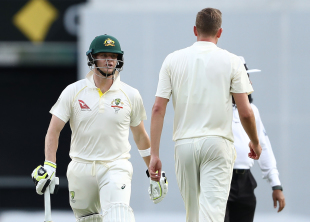Steven Smith exchanged some verbal volleys with Jake Ball
