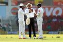 Umpire Joel Wilson inspects the ball, India v Sri Lanka, 2nd Test, Nagpur, 2nd day, November 24, 2017
