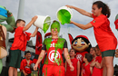Sophie Molineux gets slimed by kids at a Melbourne Renegades promotion event in Geelong, October 24, 2017