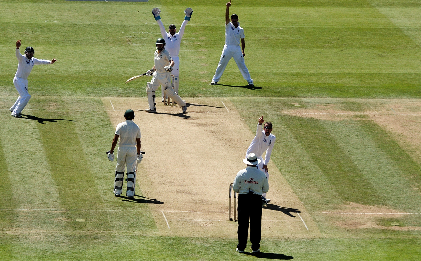 Chris Rogers was given lbw off a Graeme Swann full toss