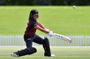 Thamsyn Newton scythes the ball into the off side, Canterbury v Northern Districts, New Zealand Women's One Day Competition, Christchurch, November 25, 2017