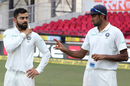 Virat Kohli and R Ashwin have a chat ahead of the presentation ceremony, India v Sri Lanka, 2nd Test, Nagpur, 4th day, November 27, 2017