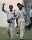 Prithvi Shaw and Jay Bista walk back after sealing Mumbai's win, Mumbai v Tripura, Ranji Trophy 2017-18, Group C, Mumbai, 3rd day, November 27, 2017
