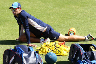 Ben Foakes limbers up during an England nets session