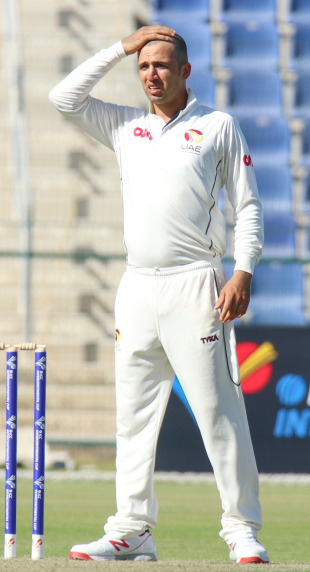 UAE captain Rohan Mustafa struggles to find a solution to stem Afghanistan's flow of runs