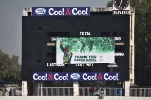 The scorecard paid a tribute to Saeed Ajmal