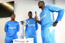 Jason Holder talks to West Indies' U-19 World Cup winners in 2016, Shimron Hetmyer and Alzarri Joseph at a media event during the launch of the U-19 World Cup, Wellington, November 30, 2017