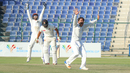 Rashid Khan wins an lbw appeal for the wicket of Rameez Shahzad, UAE v Afghanistan, 2015-17 Intercontinental Cup, 2nd day, Abu Dhabi, November 30, 2017