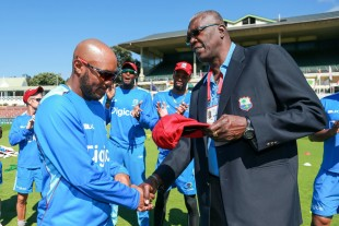 Joel Garner presents Sunil Ambris with his Test cap