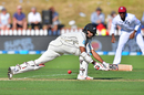 Jeet Raval lunges low to sweep one fine, New Zealand v West Indies, 1st Test, Wellington, 1st day, December 1, 2017