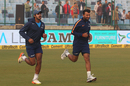 Vijay Shankar and Cheteshwar Pujara jog before the first day's play, India v Sri Lanka, 3rd Test, Delhi, 1st day, December 2, 2017