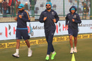 Mohammed Shami, Virat Kohli and Kuldeep Yadav warm-up before the match, India v Sri Lanka, 3rd Test, Delhi, 1st day, December 2, 2017