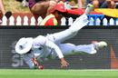 Shimron Hetmyer dives to keep the ball in play, New Zealand v West Indies, 1st Test, Wellington, 2nd day, December 2, 2017