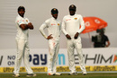 Dhananjaya de Silva is flanked by Dilruwan Perera and Angelo Mathews, India v Sri Lanka, 3rd Test, Delhi, 1st day, December 2, 2017