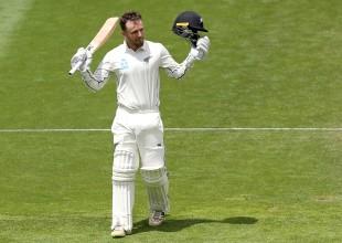 Tom Blundell celebrates a hundred on debut in Tests
