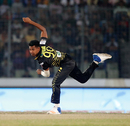 Mustafizur Rahman in his follow through, Dhaka Dynamites v Rajshahi Kings, BPL 2017-18, Dhaka, December 2, 2017