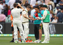 Tim Paine needed treatment on a blow to the finger, Australia v England, 2nd Test, The Ashes 2017-18, 2nd day, Adelaide, December 3, 2017