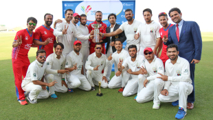 Afghanistan celebrate claiming the 2015-17 Intercontinental Cup title